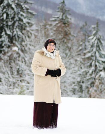 Muslim woman on snow Stock Photo - 6433557