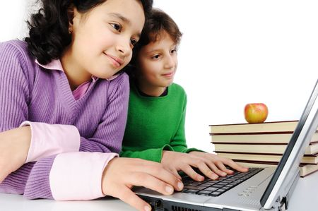 Happiness, beautiful childhood, two beauty girls on laptop photo