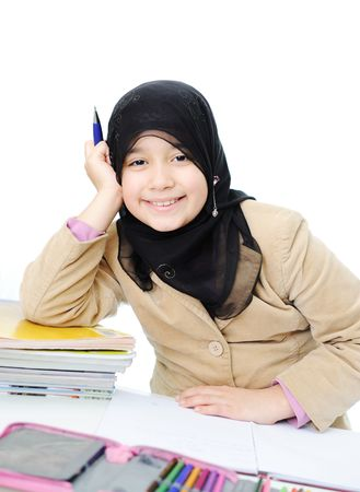 Muslim girl learning photo