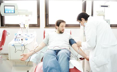 donation: Blood giving at hospital