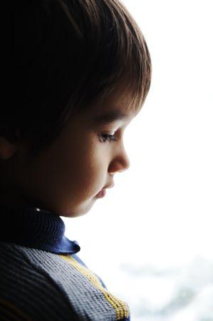 lament: Sad boy Stock Photo