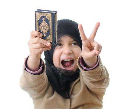 Muslim girl - intifada girl with Koran photo