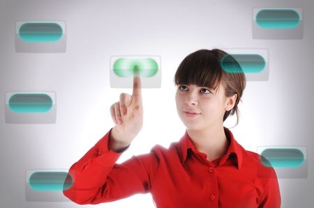 Girl with digital buttons Stock Photo - 6433494