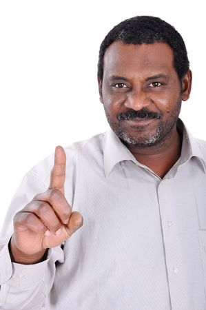 Handsome African American businessman pointing  photo