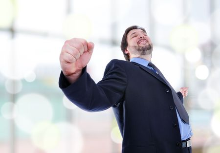 business man standing with fists clenched in victory.   Stock Photo - 6516543