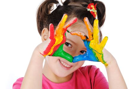 hands painted in colorful paints ready for hand prints photo
