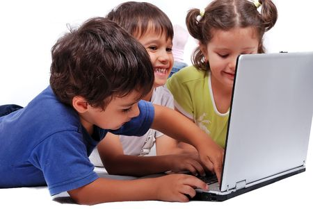 happy kids with laptop computer isolated photo