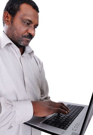 African american man with laptop Stock Photo - 6627067