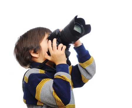 Kid with camera photo