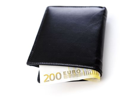 batch of euro: Wallet with money Stock Photo