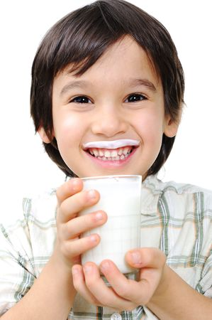glass of milk: Kid with milk and yoghurt