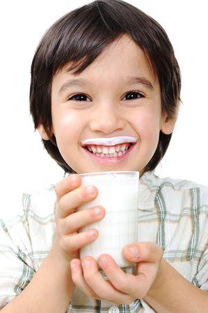 drinking milk: Kid with milk and yoghurt