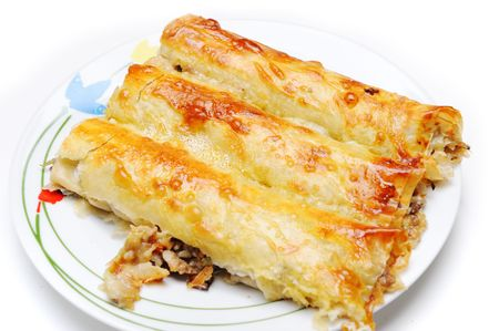 flaky: Delicious pie on plate, isolated