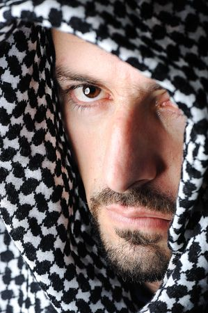 arabic desert: Man with arabic palestinian colors