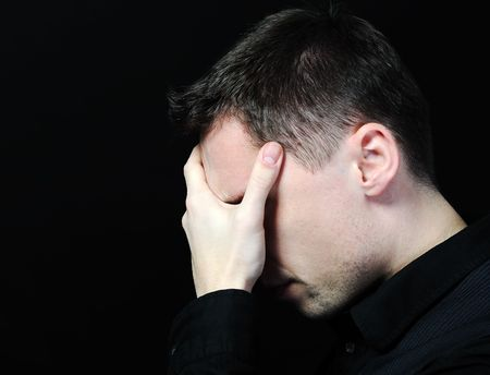 upset man: man