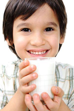 milk mustache:   Kid with milk and yoghurt