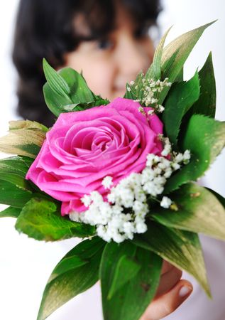 giftware: little girl give you a flower