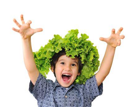 vegetarians: Cute positive kid