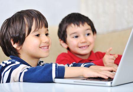two children: Cute positive kid