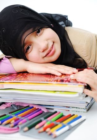 learning pray: Cute positive kid