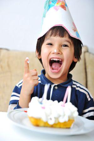 children party: Cute positive kid