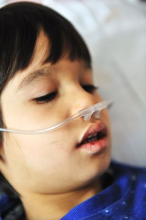ailment: Ill child in hospital Stock Photo