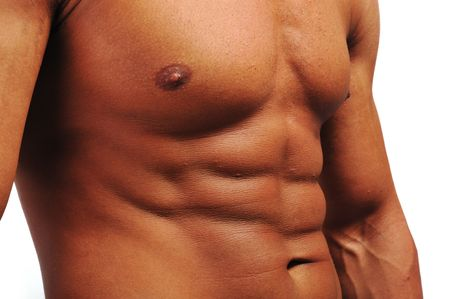 pectorals: Bodybuilder strong as a rock Stock Photo