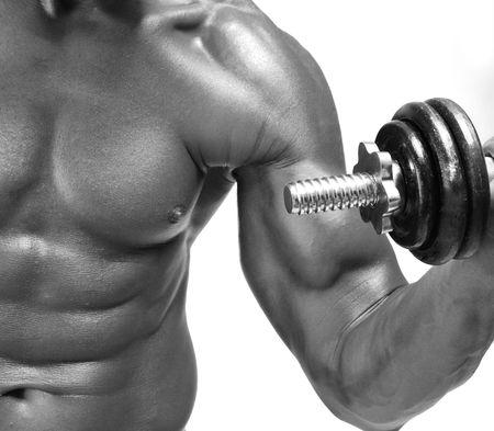 man gym: Bodybuilder strong as a rock Stock Photo