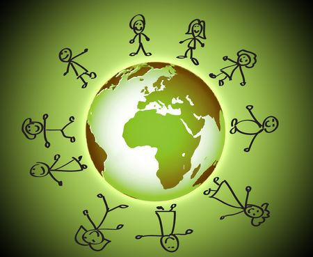 Illustration of children around the world illustration