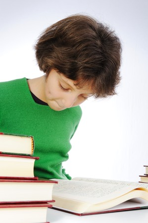 Learning, girl with books Stock Photo - 7012179