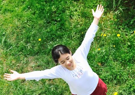 airborn: happy children in nature outdoor