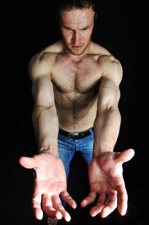 cradling: Strong man with a helthy body Stock Photo