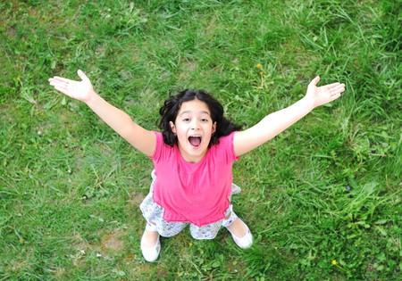 happy children in nature outdoor  photo