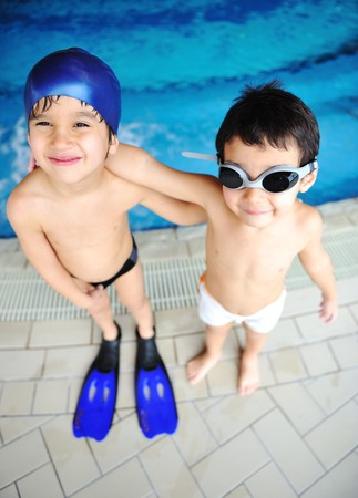 snorkelers: Children at pool, happiness and joy