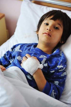 hospitalized: Ill child in hospital Stock Photo