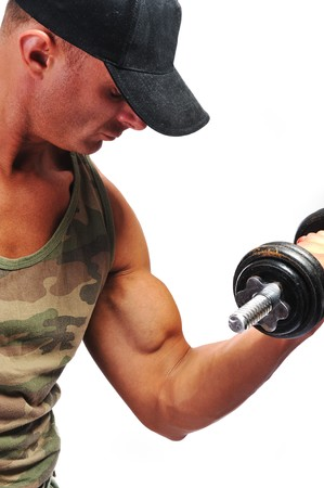 military training: Bodybuilder strong as a rock Stock Photo
