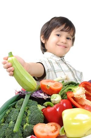fruit salads: Kid with vegetables