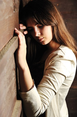 feeling sad: Beautiful young fashion female model Stock Photo