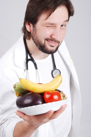 nutrition doctor: Doctor with healthy food