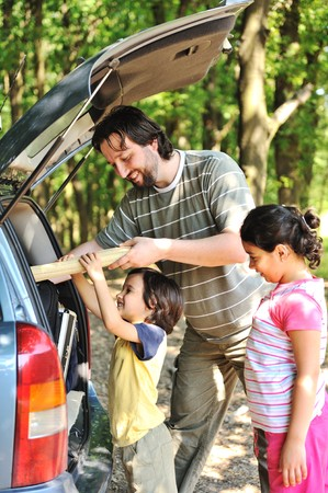 Family with car in nature Stock Photo - 7992955