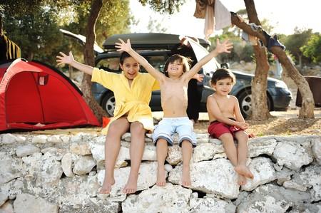 Happy children on shore