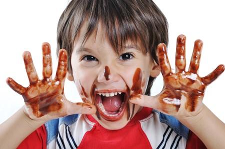 messy kids: funny boy kid Stock Photo