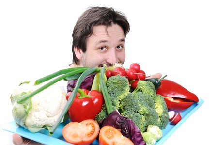 european food: Doctor with healthy food