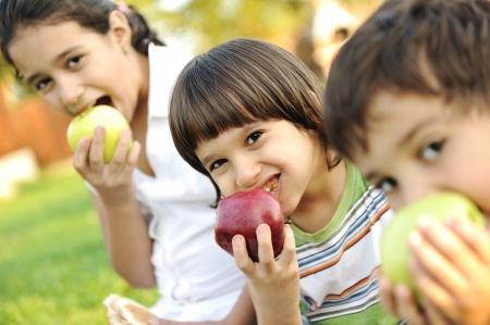 frutas divertidas: Peque�o grupo de ni�os alimentario manzanas juntos, shalow GDL