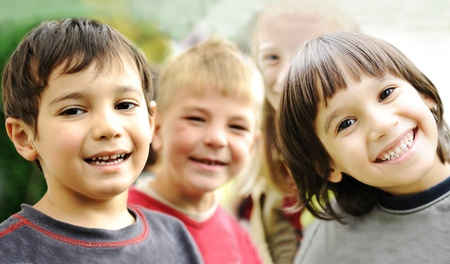 careless: Happiness without limit, happy children together outdoor, faces, smiling and careless