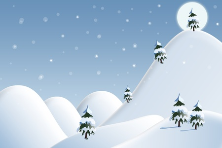 Card: winter landscape with white snowflakes and trees Stock Photo - 8643011