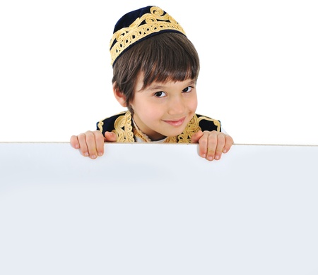 Kid with empty banner Stock Photo