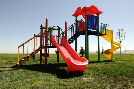 swing set: Playground without children Stock Photo