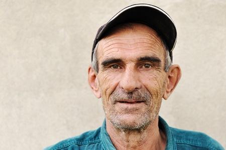 pleat: Elderly, old, mature man with hat, portrait Stock Photo