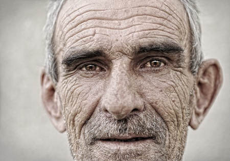 expressive face: Elderly, old, mature man close up  portrait Stock Photo